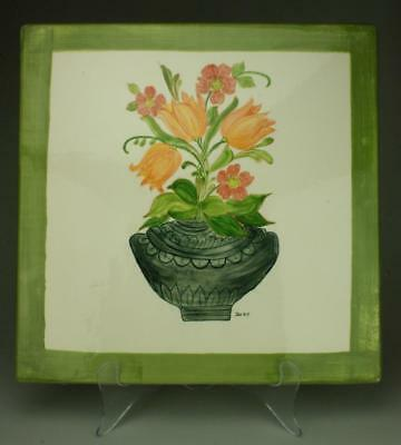 Porcelain Handpainted Decorative Heat Tile Signed Joby or Toby TB42