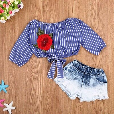 2PCS Summer Kids Baby Girls T-shirt Tops+Jeans Pants Shorts Outfits Clothes Set
