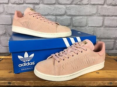 promo code 53485 26b01 Adidas Ladies Uk 6 Eu 39 1 3 Pink Suede Stan Smith Trainers Gold Foil