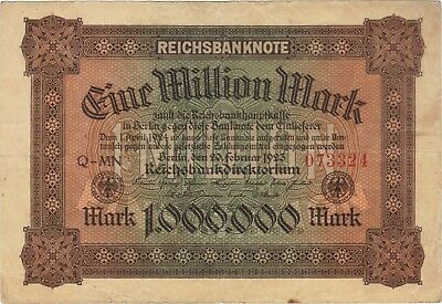 1923 1 Million Mark Germany Currency Reichsbanknote German Banknote Note Bill
