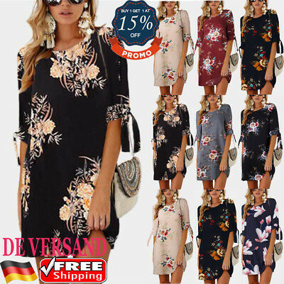 DE Damen Blumen Lace Up Casual Minikleid Mode Strandkleid Sommer Freizeitkleid