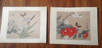 VIntage Pair of Silk Painting Asian Art Hand Painted Floral With Butterflies