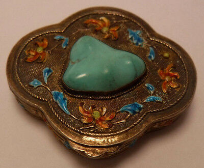 Antique Chinese Enamel Sterling Silver Snuff Box Persian Turquoise Flowers OLD