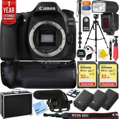 Canon EOS 80D 24.2 MP DSLR Camera Pro Memory Triple Battery Recording Bundle