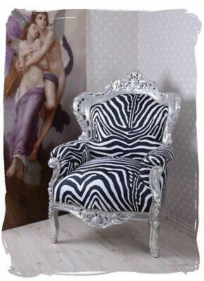 Baroque Wing Chair antique Armchair  Louis XV silver wood royal Throne carved