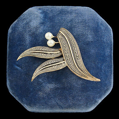 Antique Vintage Deco Sterling Silver Spain Damascene Enamel Pearl Brooch Pin