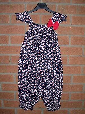 GEORGE Girls Navy Blue Red Daisy Print Knee Length Play Suit  Age 4-5 110cm