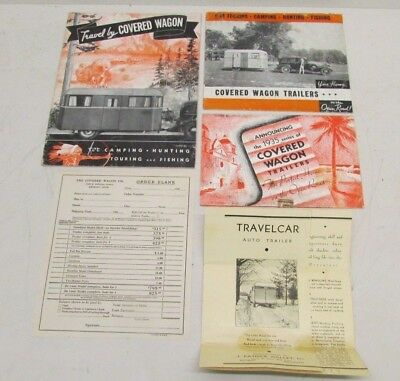 RARE Lot of Covered Wagon & TravelCar Travel Trailer Brochures from 1935