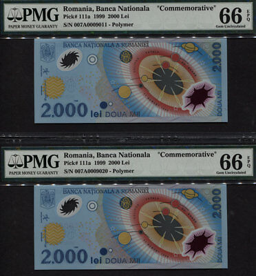 TT PK 111a 1999 ROMANIA BANCA NATIONALA 2000 LEI  PMG 66 EPQ GEM UNC SET OF TWO!