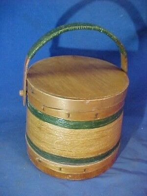 Orig 19thc SHAKER Made WOOD FIRKIN w PAINTED Twine DECORATION on Exterior