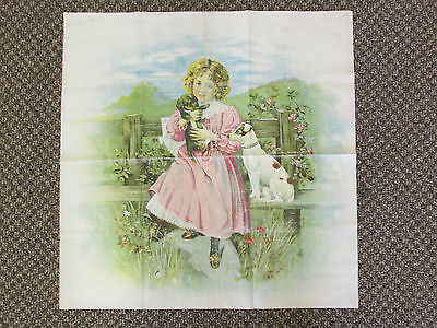 Antique Lithograph Victorian Child Dog Pillow Topper Brundage Style Quilt Topper