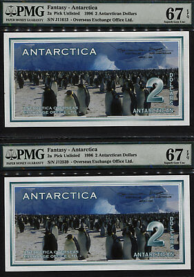 Tt Pk Unl 1996 Antarctica Fantasy 2 Antarctica Dollars Pmg 67Q Superb Set Of Two