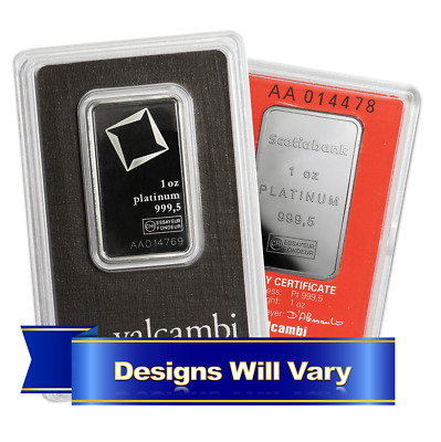 1 Troy oz Generic Name Brand Platinum Bar .999 Fine In Assay