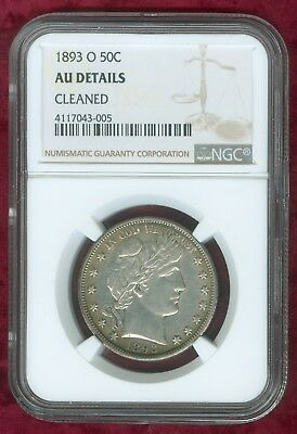 "NGC 1893-O Barber Half Dollar ""AU Details-Cleaned"""