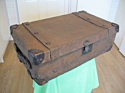 Rare old vintage metal faux reptile skin covered trunk theatre shop prop etc