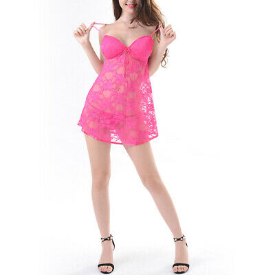 Women Sexy Deep V Lingerie Sheer Lace Chemise Sleepwear Mini Teddy + G-String