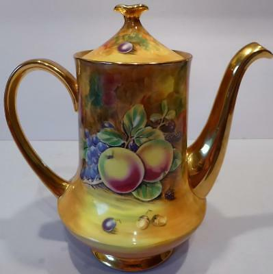 Baroness China Still Life Fruit Royal Worcester Style Coffee/Tea Pot - A Mellor