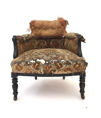 Antique Victorian Ebonised Tub Chair Rustic Library Salon Captains Hall Chair