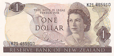 1 Dollar Aunc Banknote From New Zealand 1977-81!pick-164