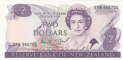 2 Dollars Aunc Banknote From New Zealand 1985-89!pick-170