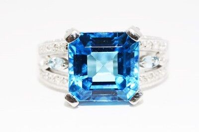 $650 8.85Ct Natural Blue Topaz & Diamond Cocktail Silver Ring Size 7.25