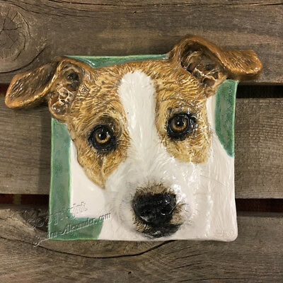 Jack Russell Terrier Dog Ceramic Tile Handmade 3d Pet Portrait Alexander Art