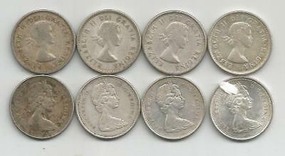 Ncoffin Canada Qe Ii Two 1960, 1964, 1965 & 1966 Eight .500 Silver 25 Cent Coins