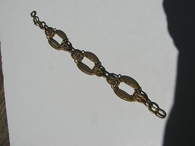 Antique Vintage Victorian Brass Bronze Metal Filigree Fancy Link Chain Bracelet