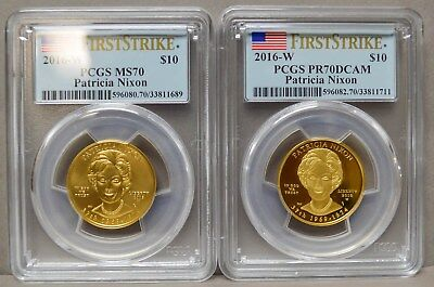 2016-W $10 Patricia Nixon 2pc. Set MS70 PR70 DCAM First Strike PCGS