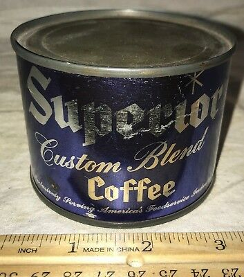 Antique Unopened Superior Custom Blend Small Coffee Tin Litho Can Vintage Full