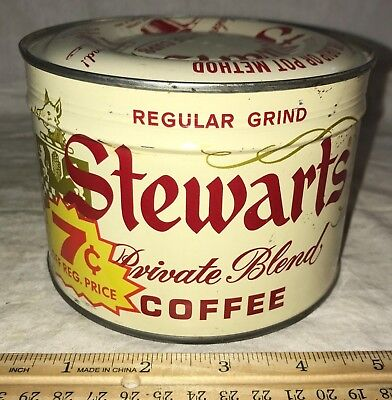 Antique Unopened Stewarts Coffee Tin Litho 1Lb Keywind Can 1962 Chicago Grocery
