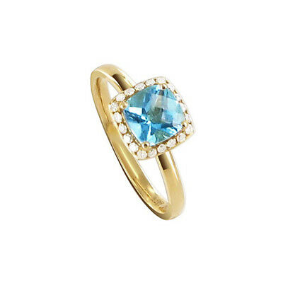 14k Yellow Gold 8mm Square Blue Topaz Gemstone with Diamond accents Ring Size 6