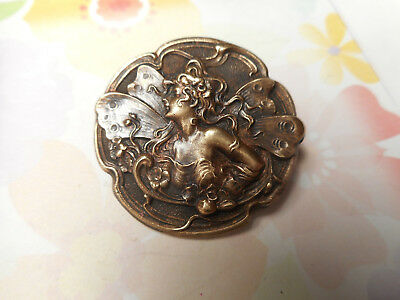 Beautiful Art Nouveau Curly Hair Woman Fairy Faerie Vintage Button 1-3/16""