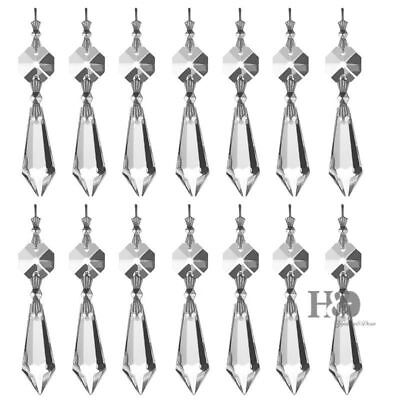 20 Clear Crystals Chandelier Glass Lamp Prisms Parts Hanging Drops Pendants 38mm