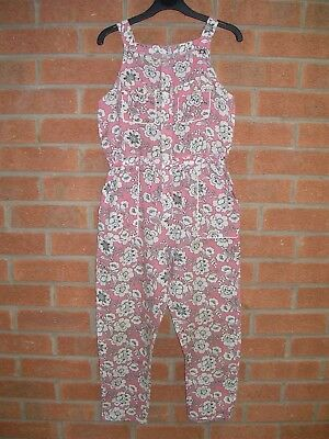 TU Pink Cream Foral Jumpsuit Play Suit Playsuit All-in-One Age 9 134cm