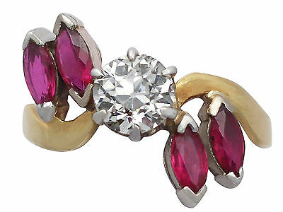 Antique and Vintage 1.05 Ct Diamond Ruby 18k Yellow Gold Dress Ring - Size 7.5