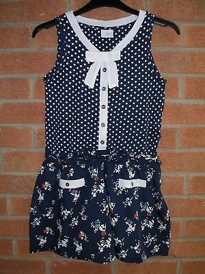 NEXT Girls Navy Polka Dot Jumpsuit Play Suit Playsuit All-in-One Age 11 146cm