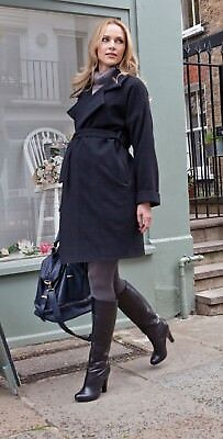 NEW Seraphine Wool & Cashmere Black Maternity Coat Size 12 RRP £135 BNWT