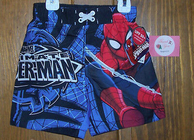 Marvel Spiderman Swim Bathing Suit Trunks Shorts UPF50+ Boys Toddler 4T NWT Blue