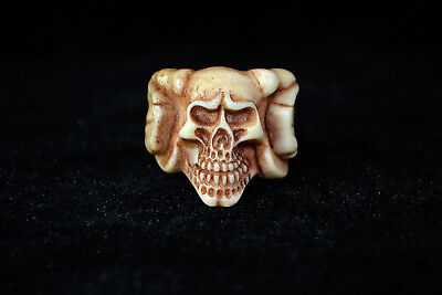 chinese old Collectible Chinese Vintage deer horn Carving rare skull Ring