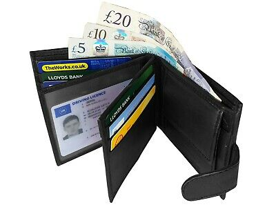 RFID NFC Blocking Mens Leather Wallet 9 Credit Cards Coin Pocket Gift Box Boxed