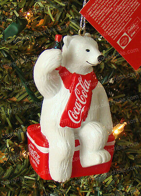 Coca-Cola POLAR BEAR ON ICE Ornament (Offical Coke Product, cc1124)