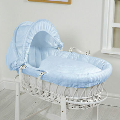 New 4Baby Blue Waffle Padded White Wicker Baby Moses Basket With Mattress