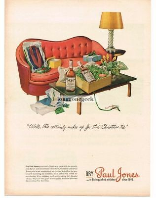 1944 PAUL JONES Whiskey Retro Mid Century Modern Divan art by EH Vtg Print Ad