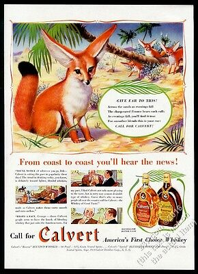 1939 fennec fox family CUTE art Calvert Special Reserve whiskey vintage print ad