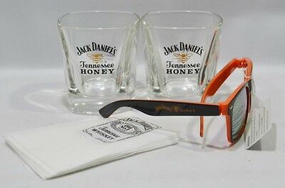 JACK DANIEL'S Whiskey Tennessee Honey 2 verres bas + lunettes + 6 serviettes