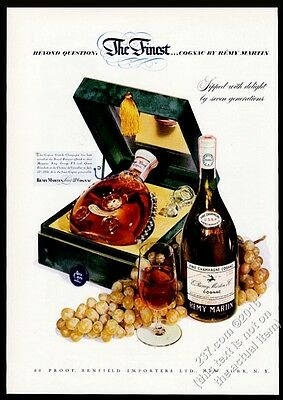 1950 Remy Martin Louis XIII cognac bottle and box photo 8x11 vintage print ad