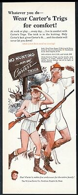1951 Carter's underwear father son hunting art vintage print ad