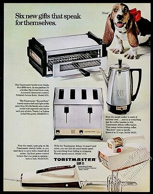 1967 Basset Hound photo Toastmaster toaster mixer coffee maker vintage print ad