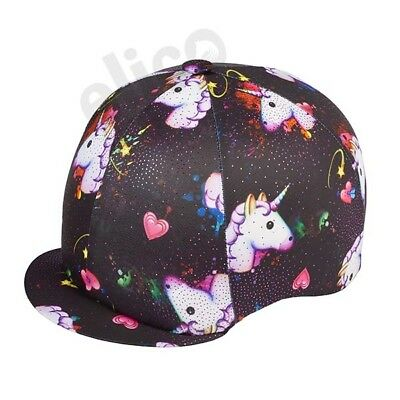 Unicorn Black Multi Sparkle Riding Hat Silk Cover For Jockey Skull Caps One Size